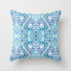 Blue and Teal Diamond Doodle Pattern Throw Pillow