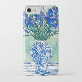 Iris Bouquet in Chinoiserie Vase on Blue and White Striped Tablecloth on Painterly Mint Green iPhone Case
