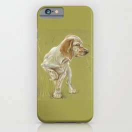The First Spring Butterfly English Setter Puppy Pastel Drawing on green background iPhone Case