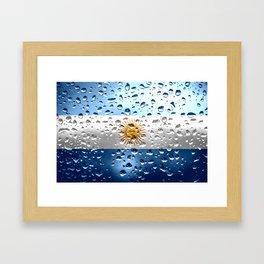 Flag of Argentina - Raindrops Framed Art Print