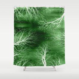 Green Midnight Trees Shower Curtain
