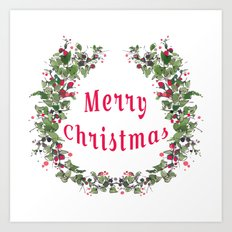 merry christmas flower wreath Art Print