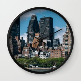 Midtown apartment buildings on east riverside view from Roosevelt Island Wall Clock