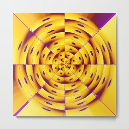 Golden radial abstract Metal Print