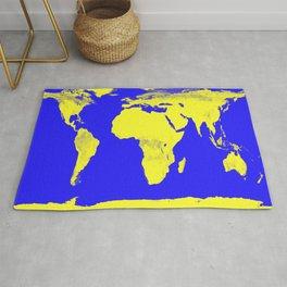 World Map Blue & Yellow Rug