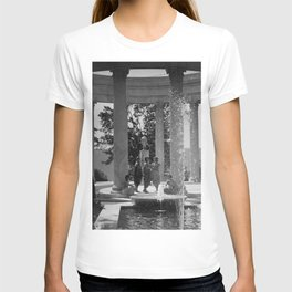 Isadora Duncan Dance Troup posing in gazebo by water fountain floral black and white photography T-shirt
