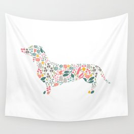 Dachshund Floral Watercolor Art Wall Tapestry