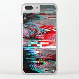 Glitch background. Computer screen error. Clear iPhone Case