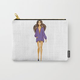 GIRL - Lady In BLUE - brown-haired - watercolor Carry-All Pouch