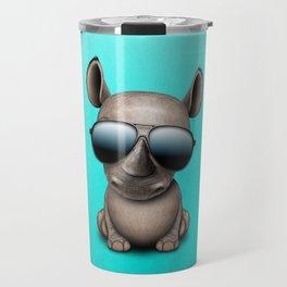 Cute Baby Rhino Wearing Sunglasses Travel Mug