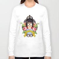 tina Long Sleeve T-shirts featuring Tina - Everything's ok face  by Sara Eshak