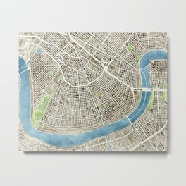 New Orleans City Map Metal Print