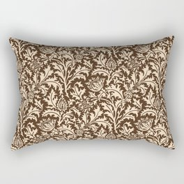 William Morris Thistle Damask, Taupe Tan and Beige Rectangular Pillow