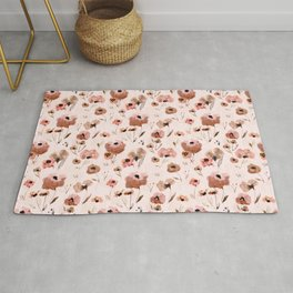 Farmhouse floral - pink Rug