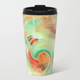 Green orange yellow colors watercolor effect brushstrokes texture illustration Travel Mug