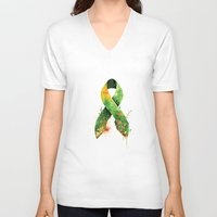 stickers V-neck T-shirts featuring Nature Ribbon by ErDavid