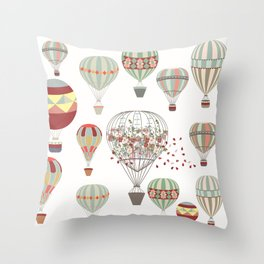 Adventures. Illustration with air balloons in vintage hipster style Throw Pillow