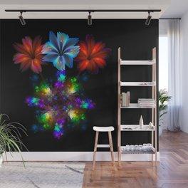 Fractal Flame Floral Arrangement Wall Mural