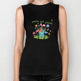 Spring Has Sprung Cuteness In The Garden Biker Tank
