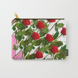 RED LONG STEMMED ROSES & PINK COLOR Carry-All Pouch