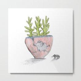 Succulent in Elephant Planter Metal Print