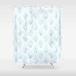 Abstract Pastel Blue Leafs Pattern Shower Curtain