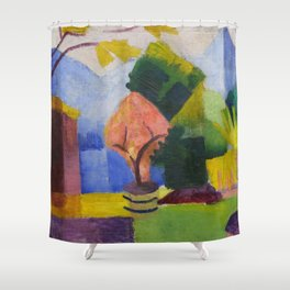 "August Macke ""Garten am Thuner See (Garden on Lake Thun)"" (II) Shower Curtain"