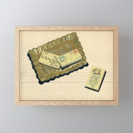 Brass Tray with Vintage Postage Holders in Gouache Framed Mini Art Print