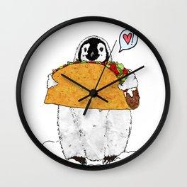 Penguins Love Tacos TOO! Wall Clock