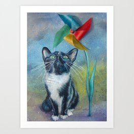 Pinwheel Kitty Art Print