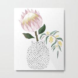 Protea in Dotty Vase Metal Print