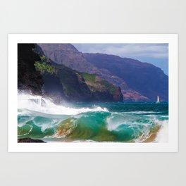 Napali Crashing Waves - Kauai Northshore Art Print