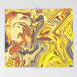 Wild Yellow Madness Liquid Marble Throw Blanket