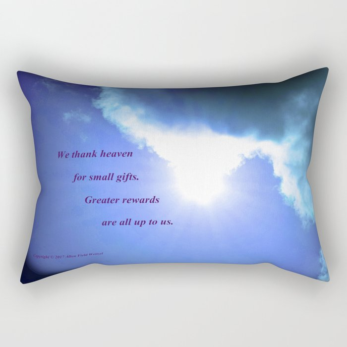 Clouds #5 with poem: Giving Thanks Rectangular Pillow