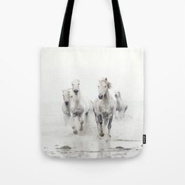 Camargue White Horses Running in Water - Nature Photography Tote Bag