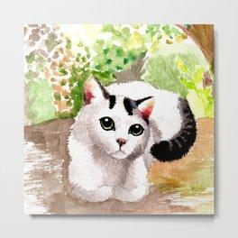 Cat in Garden Metal Print
