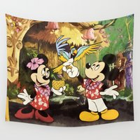 minnie Wall Tapestries featuring Mickey & Minnie Mouse In The Tiki Room by DisPrints