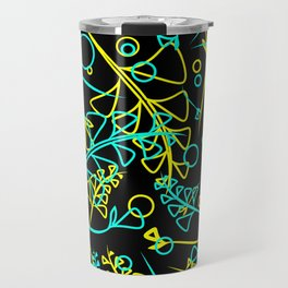 Botanical bright pattern of goffed and yellow plants and grass blades on a black background. Travel Mug