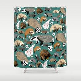 Eurasian badgers pattern teal Shower Curtain