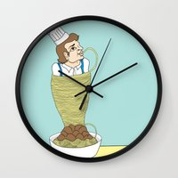 chef Wall Clocks featuring Chef attack by Ainsley wilson