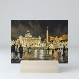 Saint Peters Basilica Winter Night Scene, Rome, Italy Mini Art Print