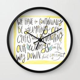 jumping off cliffs - kurt vonnegut quote Wall Clock
