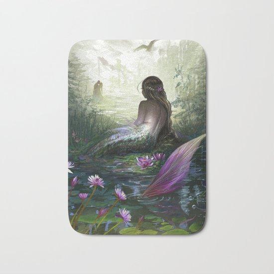 Little mermaid - Lonley siren watching kissing couple Bath Mat