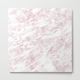 Girly Pink and White Modern Marble Metal Print