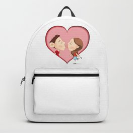 Cartoon illustration of kissing people Backpack