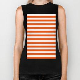 Narrow Horizontal Stripes - White and Dark Orange Biker Tank