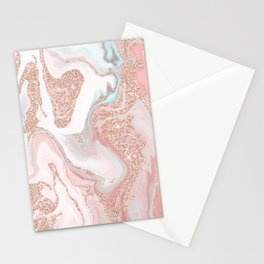 Modern rose gold glitter coral gray pastel marble marbling effect pattern Stationery Cards
