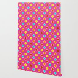 Geometric Candy Dot Circles In Bright Summer Multi Colors - Pink Yellow Orange Red Turquoise Wallpaper