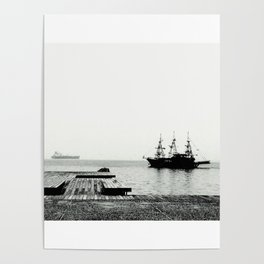 ships on a calm sea black and white Poster