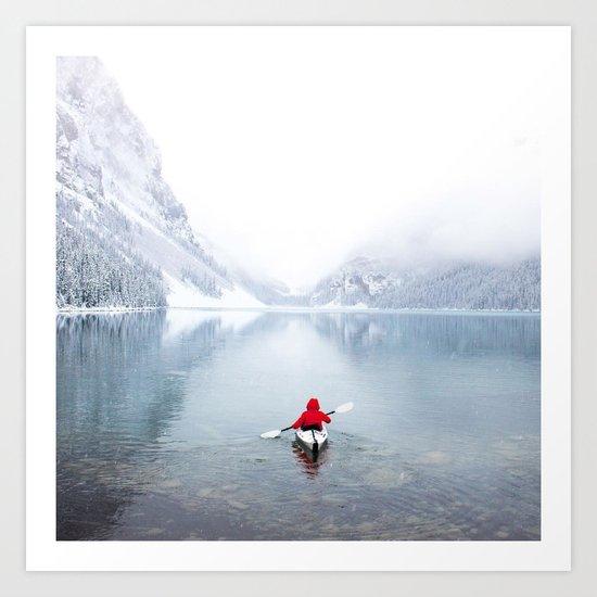 Kayaking Across A Canadian Lake Art Print